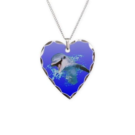 Dolphin Smiling Necklace Heart Charm