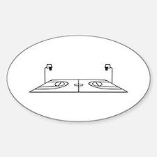Basketball court Sticker (Oval)