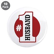 "#1 Husband 3.5"" Button (10 pack)"