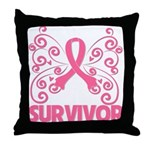 Breast Cancer Survivor Whimsy Throw Pillow