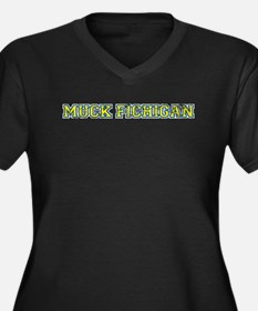 Muck Fichigan Women's Plus Size V-Neck Dark T-Shir