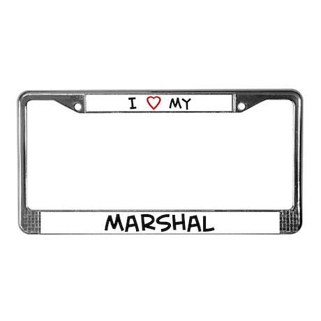 I Love Marshal License Plate Frame