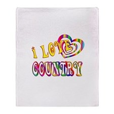 I Love Country Throw Blanket