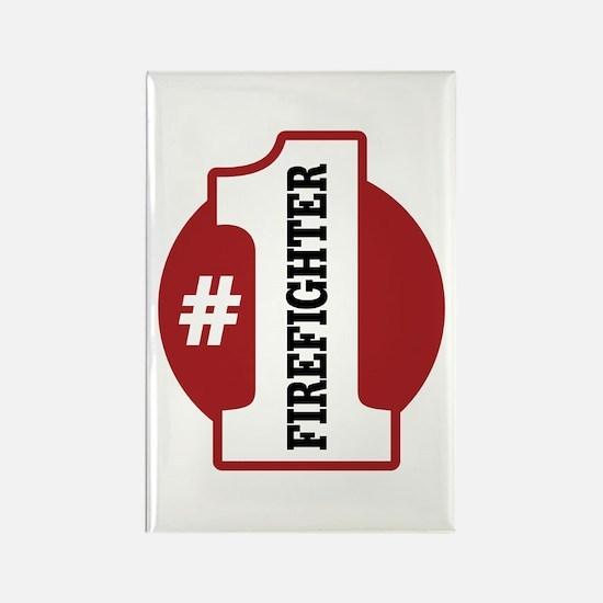 #1 Firefighter Rectangle Magnet