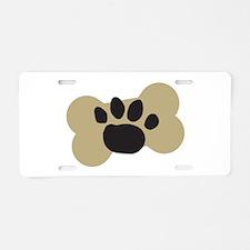Dog Lover Paw Print Aluminum License Plate