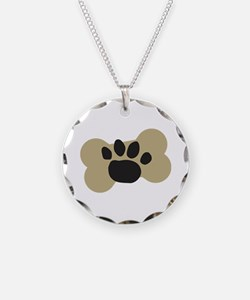 Dog Lover Paw Print Necklace Circle Charm