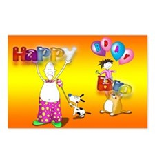 Birthday Bro with balloons Postcard (Package of 8)