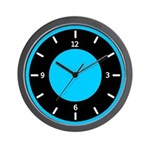BASIC COLOR CLOCKS:  Blue & Black Wall Clock