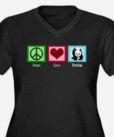Peace Love Pandas Women's Plus Size V-Neck Dark T-