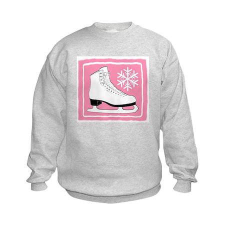 Pink Ice Skate Kids Sweatshirt