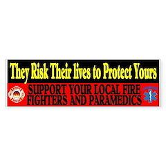 SUPPORT FIREFIGHTERS PARAMEDICS Bumper Sticker