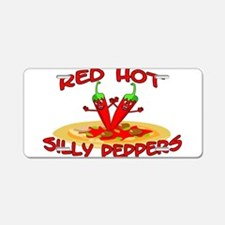 Red Hot Silly Peppers Aluminum License Plate