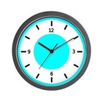 BASIC COLOR CLOCKS:  Turq. Blue Wall Clock