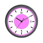 BASIC COLOR CLOCKS:  Pink Wall Clock
