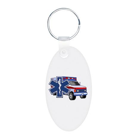 EMS Ambulance Aluminum Oval Keychain