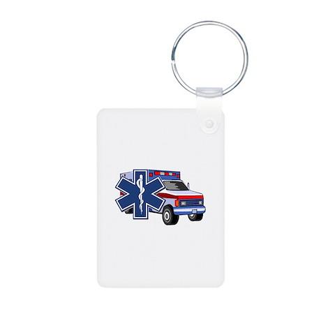 EMS Ambulance Aluminum Photo Keychain