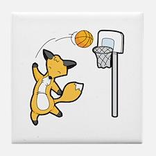 Basketball Playing Happy Fox Tile Coaster