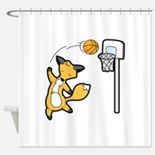 Basketball Playing Happy Fox Shower Curtain