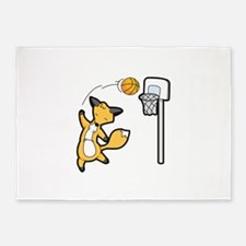 Basketball Playing Happy Fox 5'x7'Area Rug