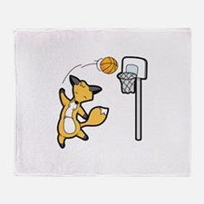 Basketball Playing Happy Fox Throw Blanket