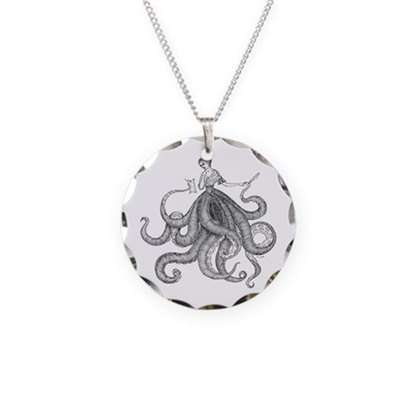 Octopus Lady Necklace Circle Charm