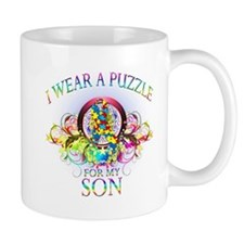 I Wear A Puzzle for my Son (floral) Mug