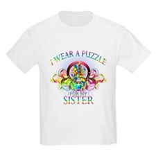 I Wear A Puzzle for my Sister (floral) T-Shirt
