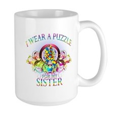 I Wear A Puzzle for my Sister (floral) Mug