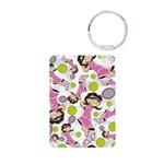 Cute Little Tennis Girl Aluminum Photo Keychain