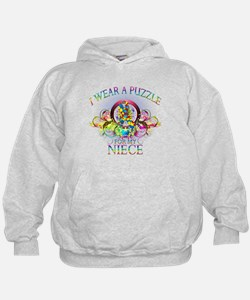 I Wear A Puzzle for my Niece (floral) Hoodie