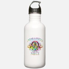 I Wear A Puzzle for my Niece (floral) Water Bottle