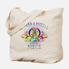I Wear A Puzzle for my Niece (floral) Tote Bag