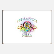 I Wear A Puzzle for my Niece (floral) Banner