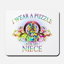 I Wear A Puzzle for my Niece (floral) Mousepad