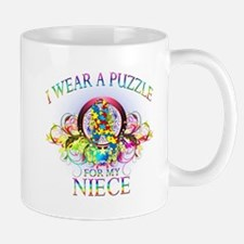 I Wear A Puzzle for my Niece (floral) Mug