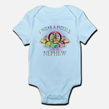 I Wear A Puzzle for my Nephew (floral) Infant Body