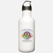 I Wear A Puzzle for my Nephew (floral) Water Bottle