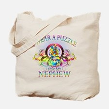 I Wear A Puzzle for my Nephew (floral) Tote Bag