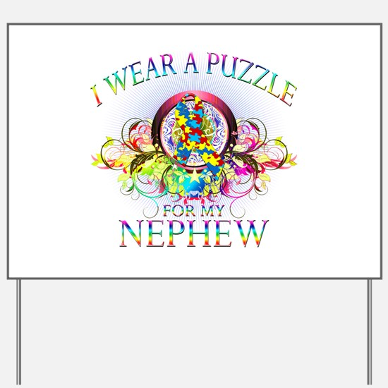 I Wear A Puzzle for my Nephew (floral) Yard Sign