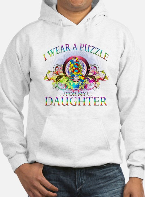 I Wear A Puzzle for my Daughter (floral) Hoodie