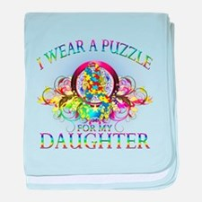 I Wear A Puzzle for my Daughter (floral) baby blan