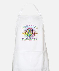 I Wear A Puzzle for my Daughter (floral) Apron