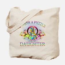 I Wear A Puzzle for my Daughter (floral) Tote Bag