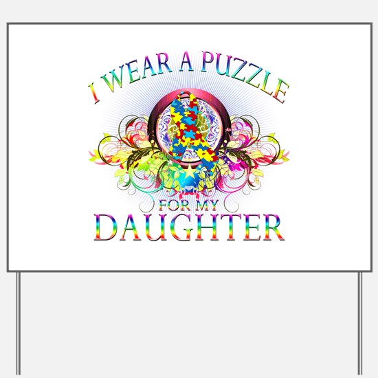 I Wear A Puzzle for my Daughter (floral) Yard Sign