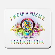 I Wear A Puzzle for my Daughter (floral) Mousepad