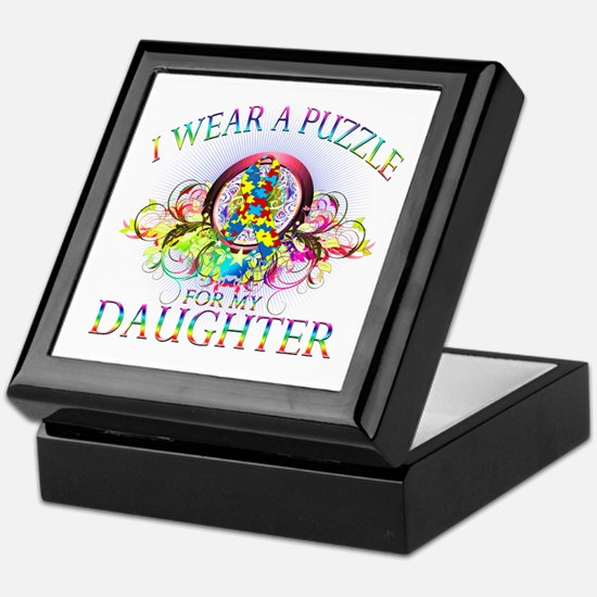 I Wear A Puzzle for my Daughter (floral) Keepsake