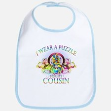 I Wear A Puzzle for my Cousin (floral) Bib