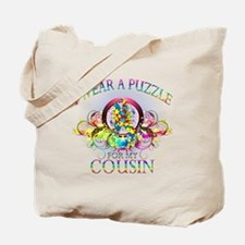 I Wear A Puzzle for my Cousin (floral) Tote Bag