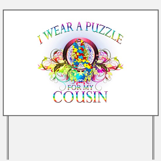 I Wear A Puzzle for my Cousin (floral) Yard Sign