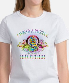 I Wear A Puzzle for my Brother (floral) Tee